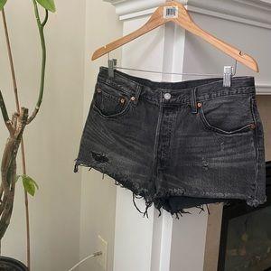 LEVI's Faded Black 501 Mid Rise Denim Shorts